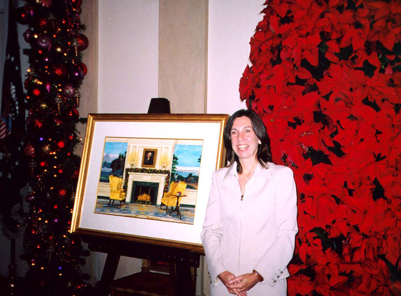 Barbara Ernst Prey with her painting for the 2003 White House Christmas card, The White House
