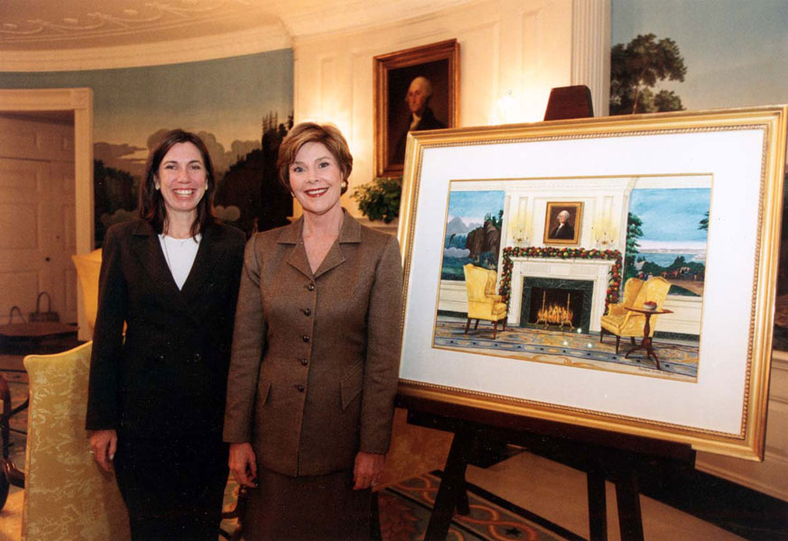 Barbara Prey with Mrs. Bush at The White House presenting her painting for the 2003 White House Christmas card