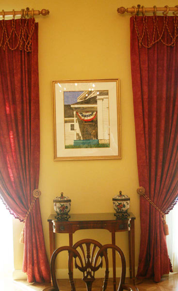 """Barbara's painting """"The Homecoming"""" on exhibit in the State Dining Room, U.S. Embassy Residence, Spain"""