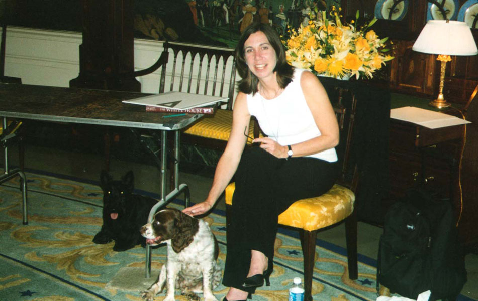 Drawing at the White House, Diplomatic Reception Room with Presidential dogs Spotty and Barney