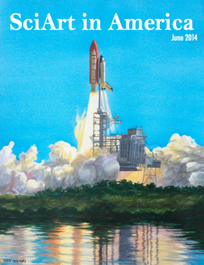 """""""Discovery Shuttle Return to Flight"""" Watercolor and drybrush, 32 x 40 inches."""