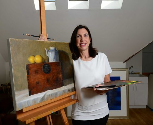 Renowned watercolor artist Barbara Ernst Prey works in her Oyster Bay studio on Oct. 9, 2014. Photo Credit: Newsday / Audrey C. Tiernan