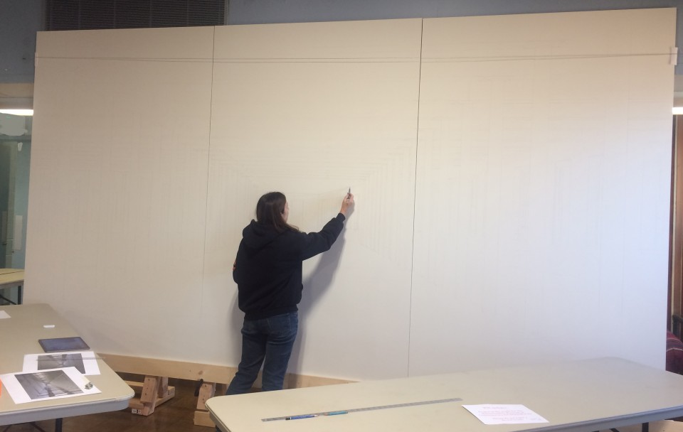 Barbara working on the large size painting; she had to set it up in a bigger space close to her Oyster Bay, NY studio in order to fit the scale of the panels