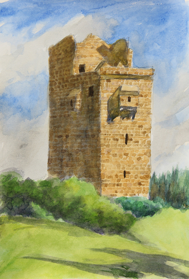 "Ballanacky Castle, watercolor on paper 10"" x 8"""