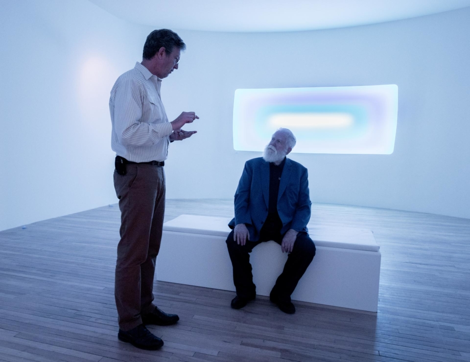 James Turrell (right) with Mass MoCA director Joseph C. Thompson at the museum.