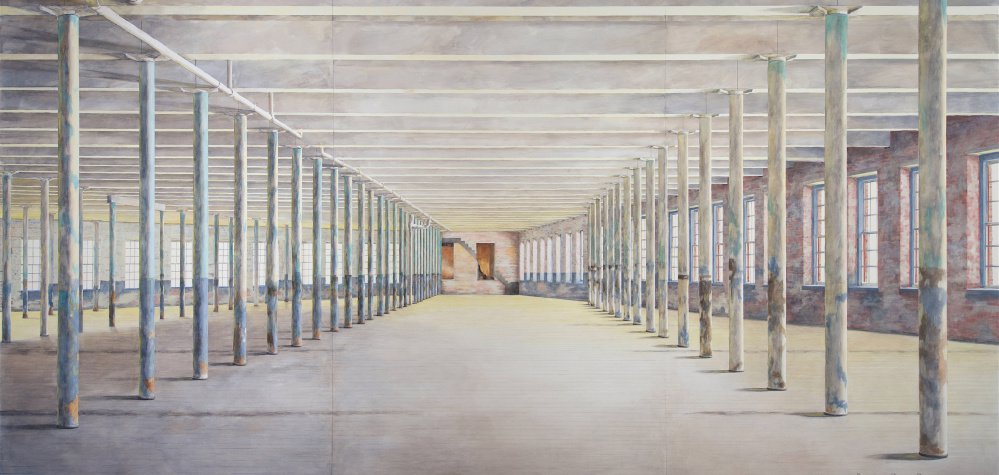 """""""MASS MoCA Building 6"""" in part reveals artist Barbara Prey's interest in architecture, which has surfaced throughout her career. Image courtesy of MASS MoCA"""