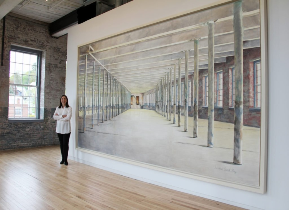 Barbara Prey and her work at Mass MoCA. Photo: Courtesy of the artist.