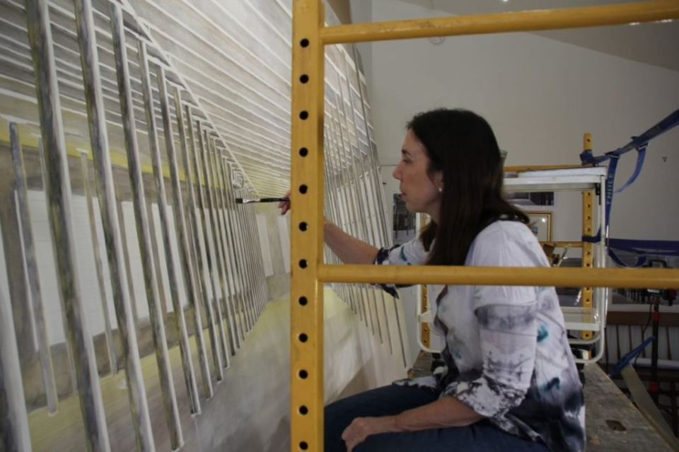Barbara Prey working on her Mass MoCA commission. Photo: courtesy of the artist.