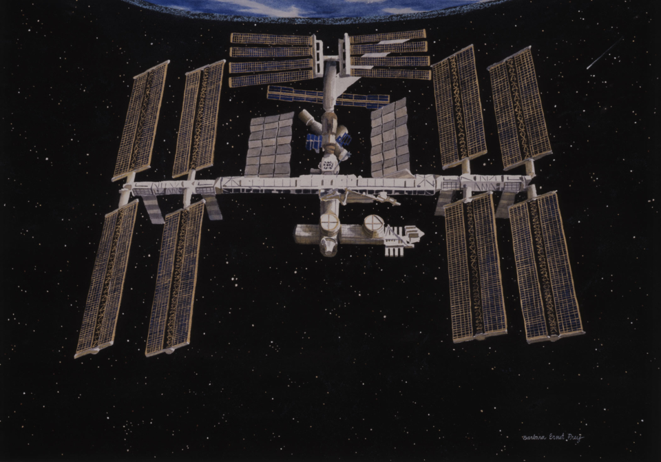 International Space Station II, 2003, Watercolor on paper, 28 x 40 inches